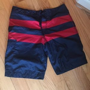 Blue & Red Men's Swimming Shorts M